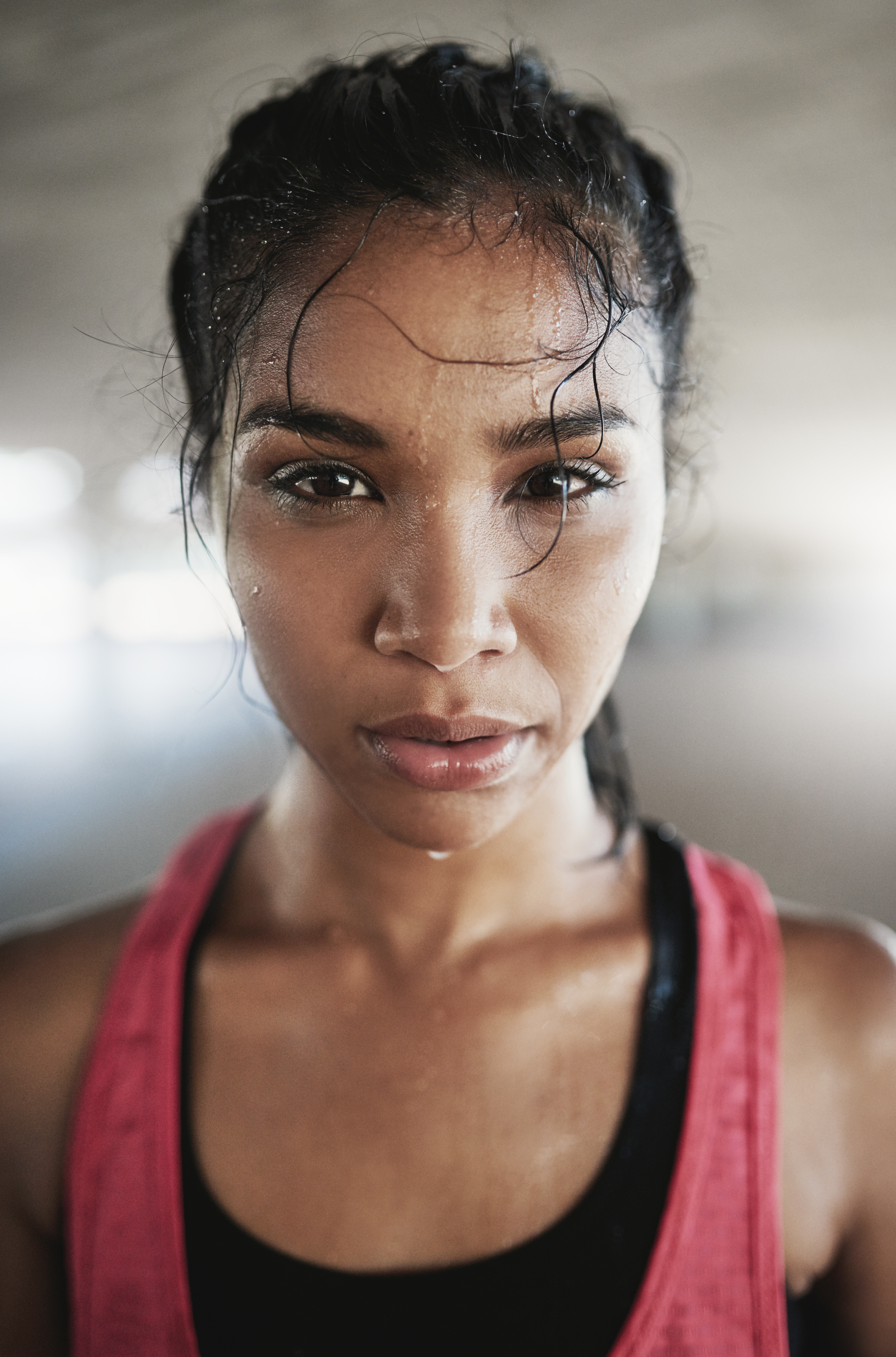 Woman Sweating during Workout